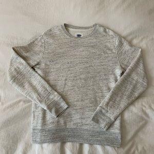 Heathered gray/white crewneck sweatshirt